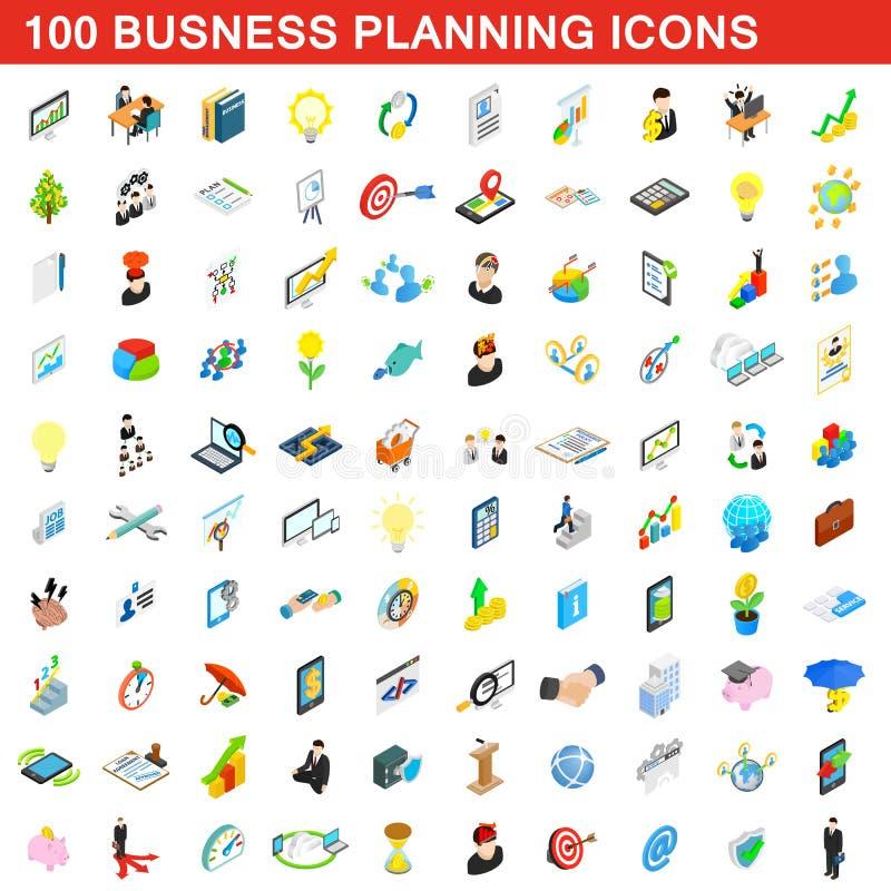100 bedrijfs geplaatste planningspictogrammen, isometrische stijl stock illustratie