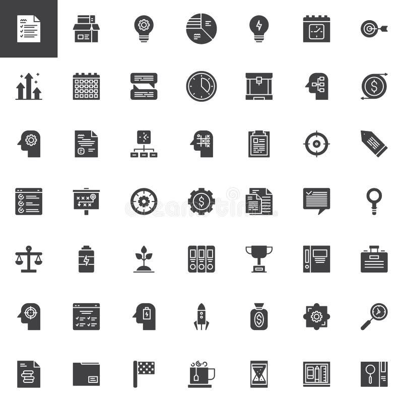 Bedrijfs geplaatste Productiviteits vectorpictogrammen stock illustratie