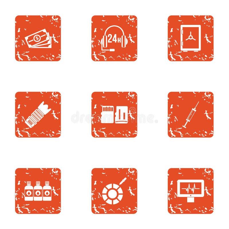 Bedrijfs geplaatste telefoniepictogrammen, grunge stijl vector illustratie