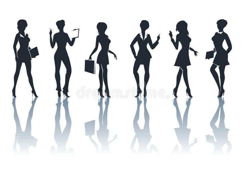 Bedrijfs Geplaatste Vrouwensilhouetten vector illustratie