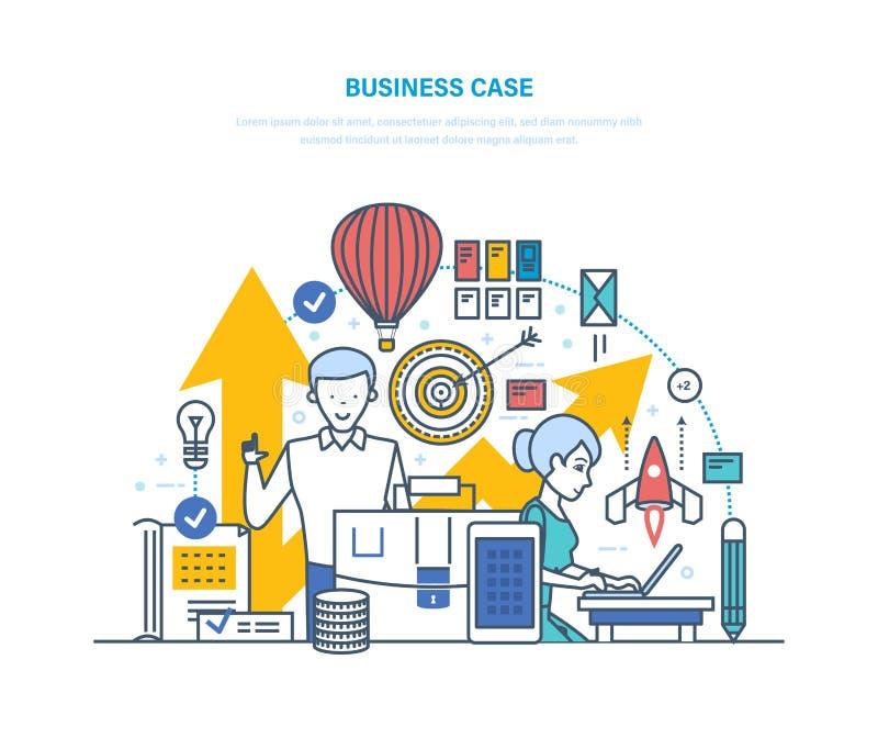 Bedrijfs Geval Richting van taken, problemenbedrijf, voltooiing van doelstellingen vector illustratie