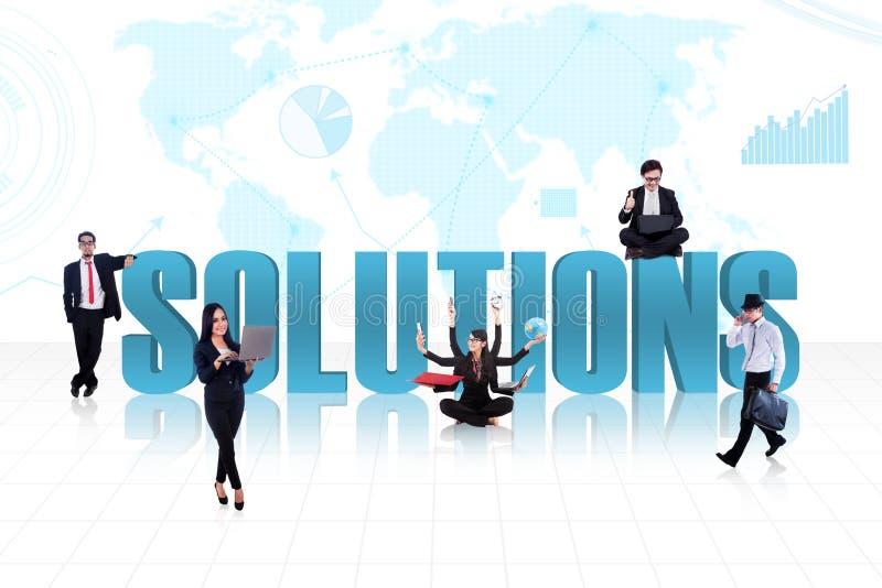 Bedrijfs globale oplossingen in blauw royalty-vrije illustratie