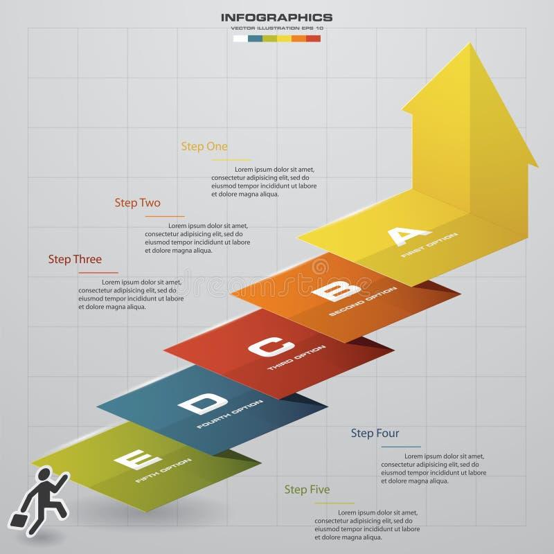 Bedrijfs grafiek 5 het malplaatje van het stappendiagram Vector Geleidelijk idee stock illustratie