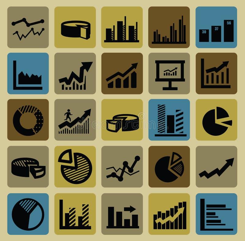 Bedrijfs grafiekpictogrammen vector illustratie