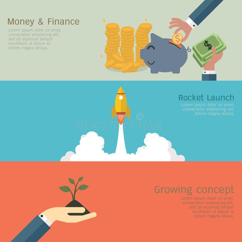 Bedrijfs groeiende reeks vector illustratie