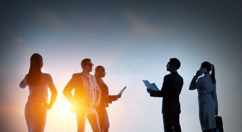 Bedrijfs groepswerkconcept Gemengde media stock afbeelding