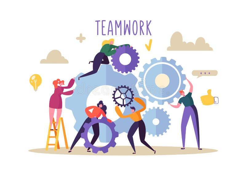 Bedrijfs groepswerkconcept Vlakke Mensenkarakters die Toestellenmechanisme in werking stellen Ontwikkeling van het techniekproduc royalty-vrije illustratie