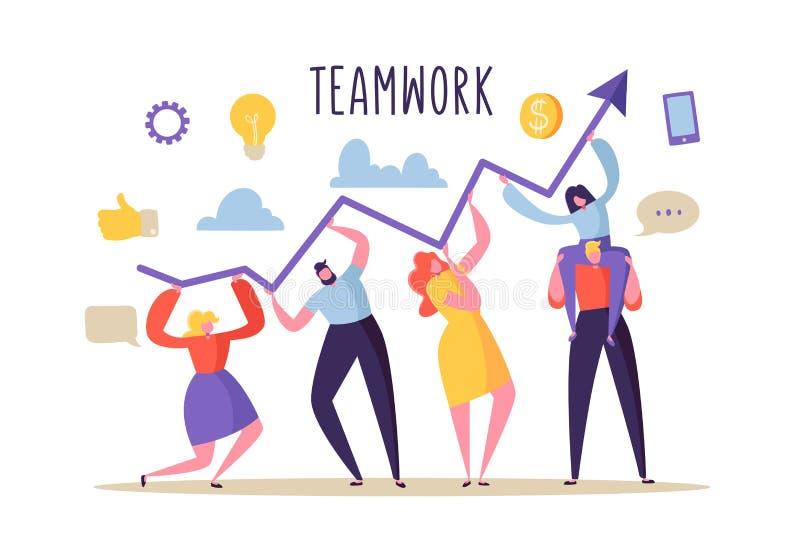 Bedrijfs groepswerkconcept Vlakke Mensenkarakters en de Pijl die van de Holdingsgrafiek samenwerken Financiële success royalty-vrije illustratie