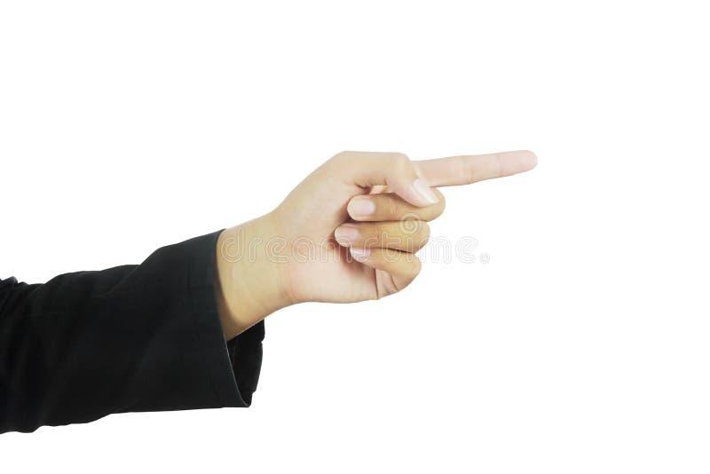 Bedrijfs hand die drukkend een knoop simuleert royalty-vrije stock afbeeldingen