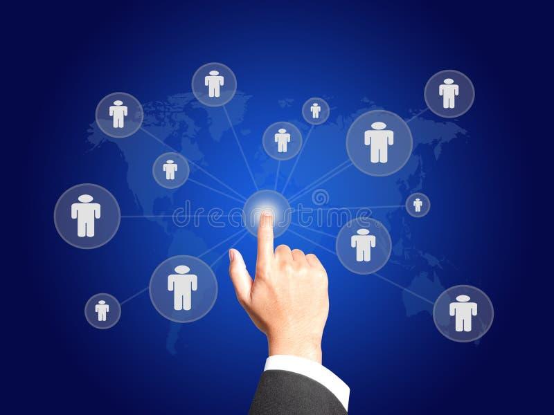Bedrijfs hand met het concept van de Aansluting stock illustratie