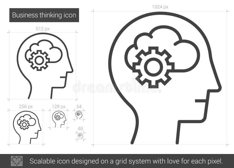 Bedrijfs het denken lijnpictogram stock illustratie