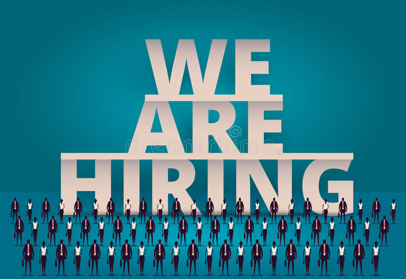 Bedrijfs het huren concept U-manager hurende werknemer of arbeiders voor baan Het aanwerven van personeel of personeel in bedrijf stock illustratie