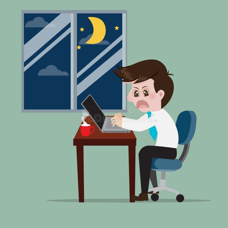 Bedrijfs het werkoverwerk aan vroege ochtend royalty-vrije illustratie