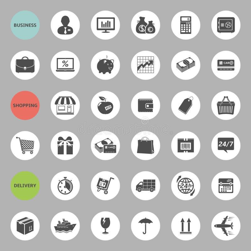 Bedrijfs, het winkelen en leveringspictogramreeks royalty-vrije illustratie