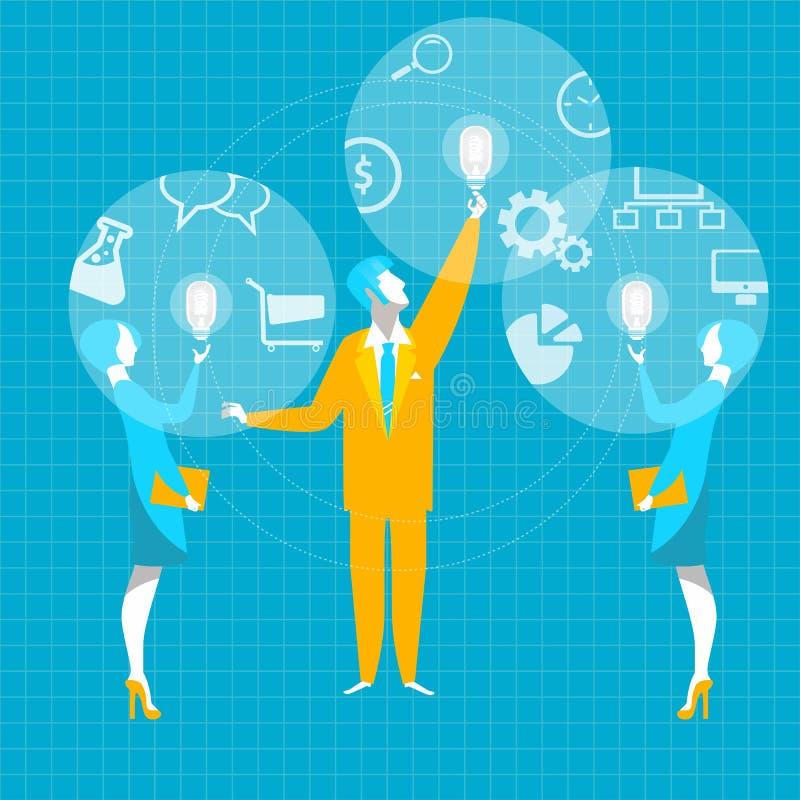 Bedrijfs Idee Van het het bedrijfs ideetoestel van de fusiesamenwerking de bol hoofdhanddruk royalty-vrije illustratie