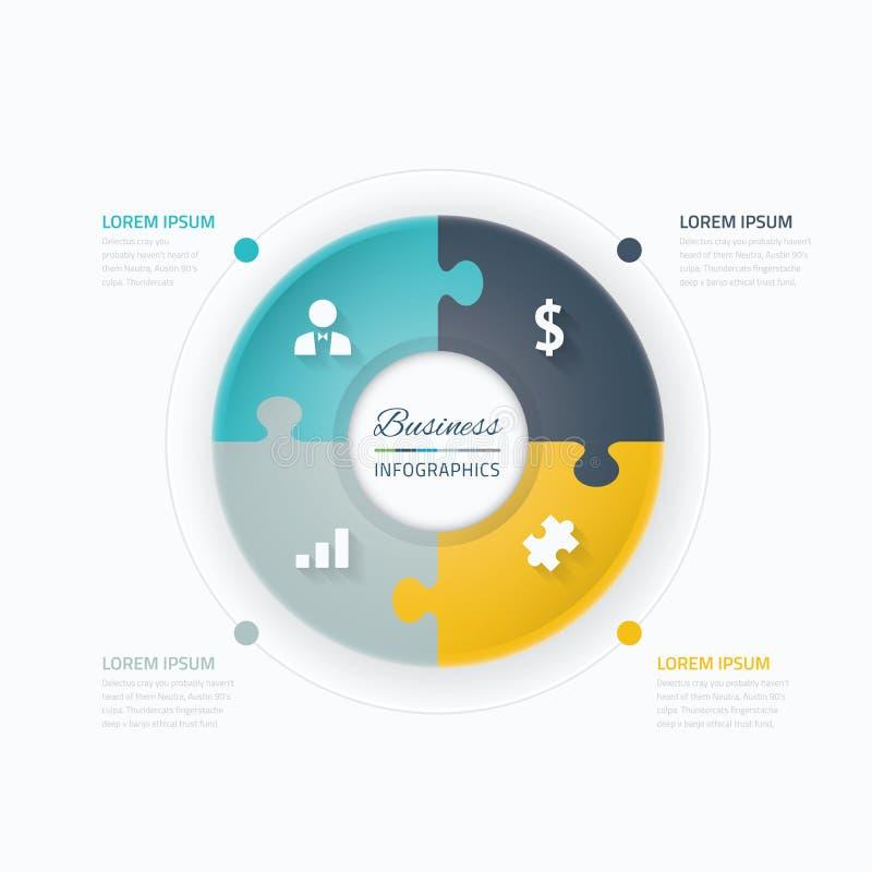 Bedrijfs infographic elementen Cirkel met het concept en de pictogrammen van het raadselstuk royalty-vrije illustratie