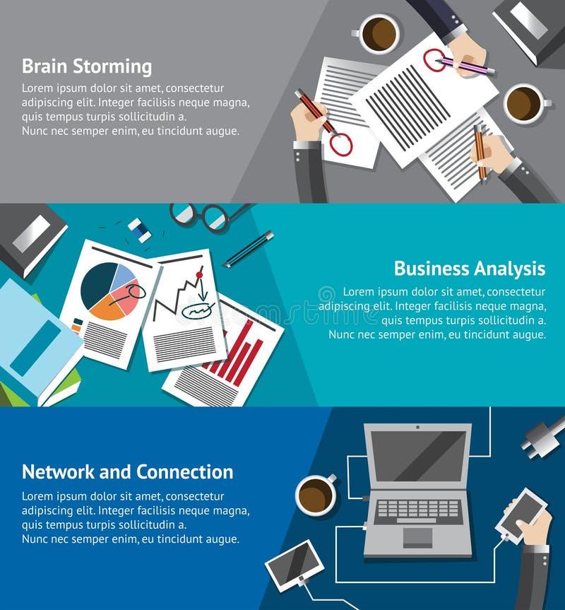 Bedrijfs infographic malplaatje die van zakenluibrainstorming, markt analyseren en via Internet-de vector van het lay-outontwerp  vector illustratie