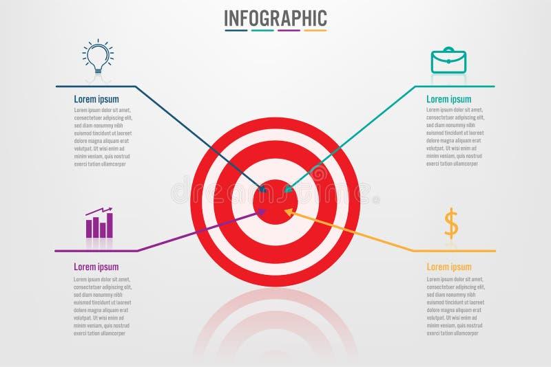 Bedrijfs infographic malplaatje met 4 doelstellingen vormopties royalty-vrije illustratie