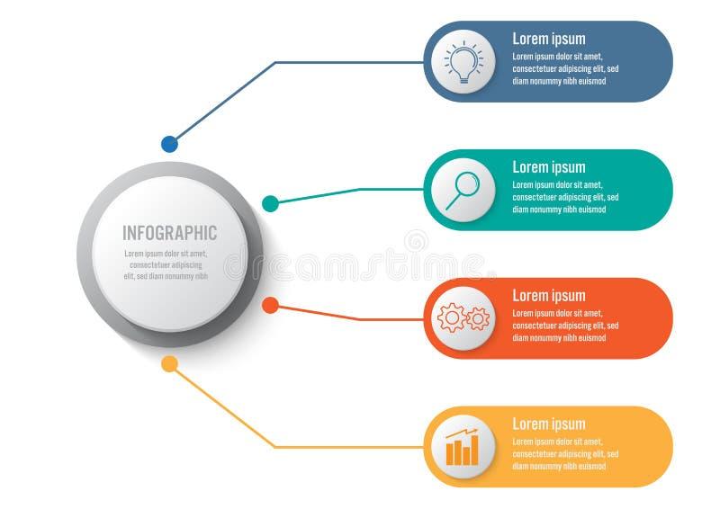 Bedrijfs infographic malplaatje met 4 opties cirkelvorm, Abstract elementendiagram of processen en bedrijfs vlak pictogram, Vecto vector illustratie