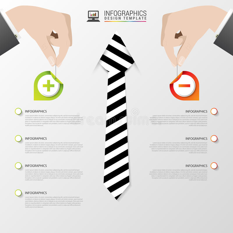 Bedrijfs infographic malplaatje Modern ontwerp Pros - en - cons Vector illustratie stock illustratie