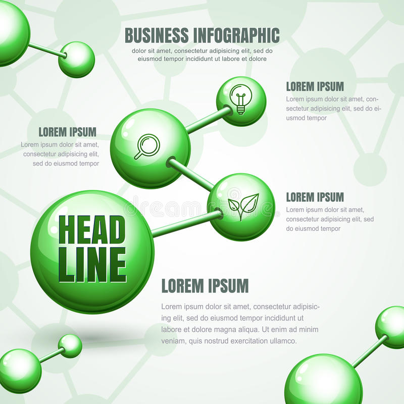 Bedrijfs infographic malplaatje Vector groene moleculaire structuur stock illustratie