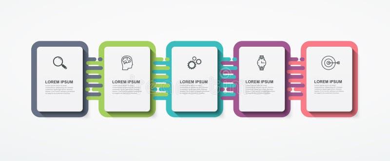 Bedrijfs infographic rechthoekige elementen met 5 optiesstappen Modern infographic malplaatjeontwerp royalty-vrije illustratie