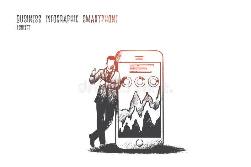 Bedrijfs infographic smartphoneconcept Hand getrokken vector royalty-vrije illustratie