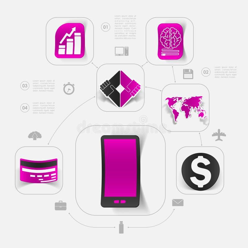 Bedrijfs infographic sticker vector illustratie