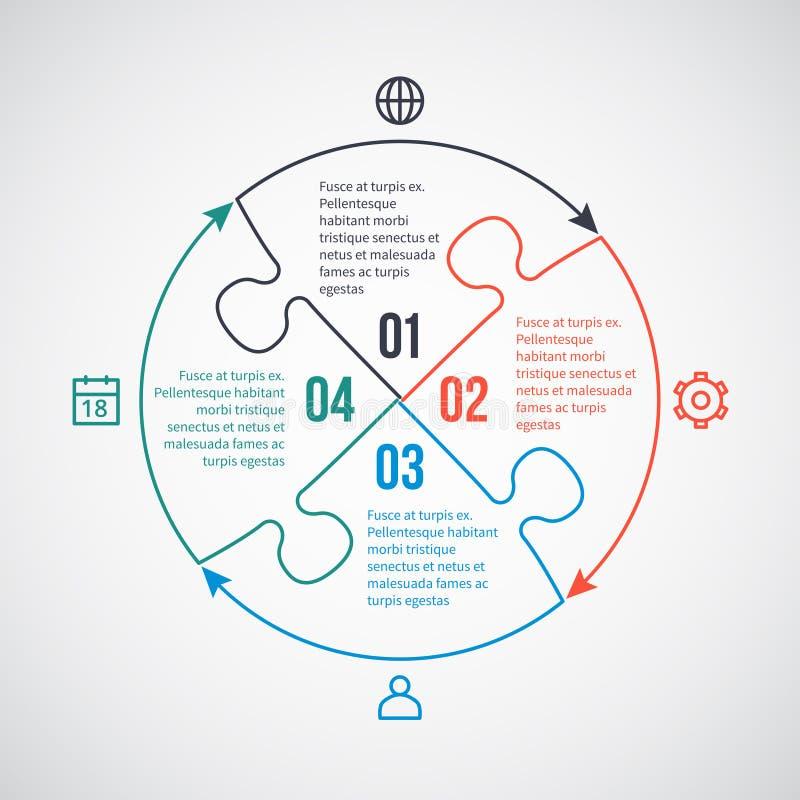 Bedrijfs infographic vectormalplaatje met lijnpictogrammen, raadselelementen voor 4 opties, delen, stappen, processen stock illustratie