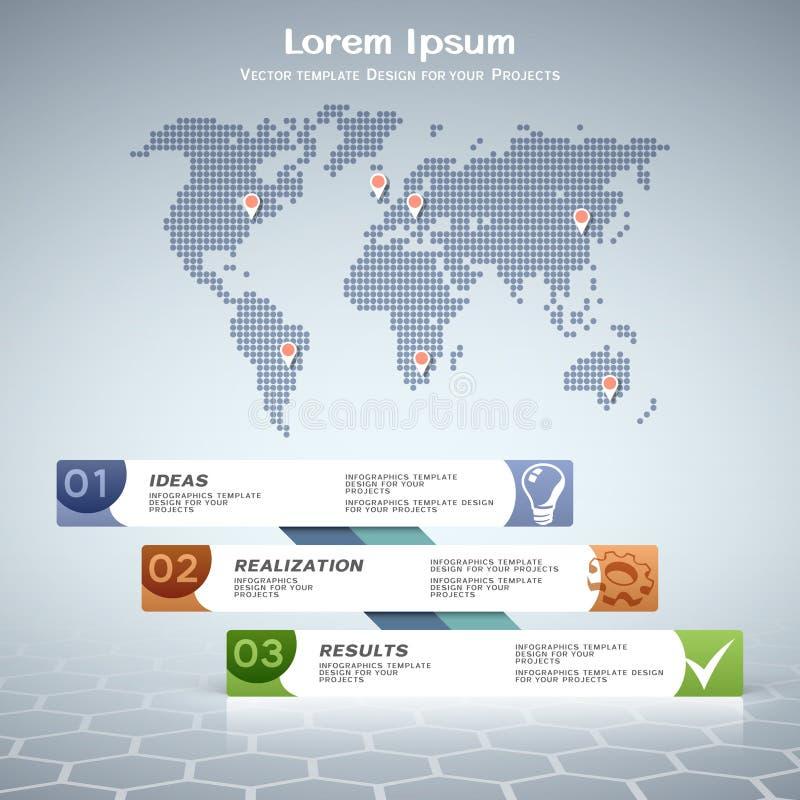 Bedrijfs informatie-grafisch ontwerp met gestippelde wereldkaart royalty-vrije illustratie