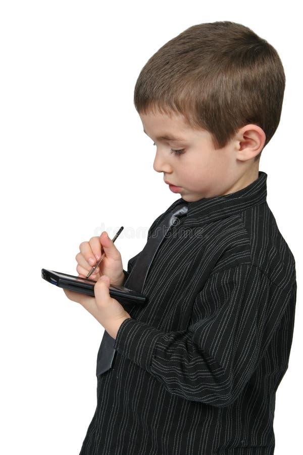 Bedrijfs Jong geitje Gebruikend PDA stock afbeelding