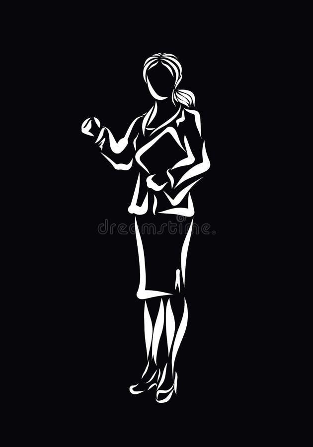 Bedrijfs jonge vrouw in een klassiek kostuum, met in hand documenten, stock illustratie