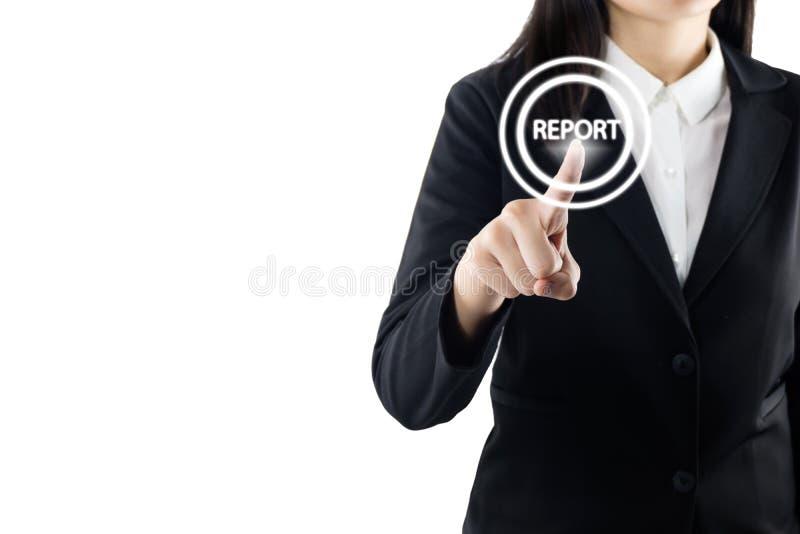 Bedrijfs jonge vrouwenhand wat betreft rapportteken op het virtuele scherm, modern bedrijfsconcept als achtergrond stock foto's
