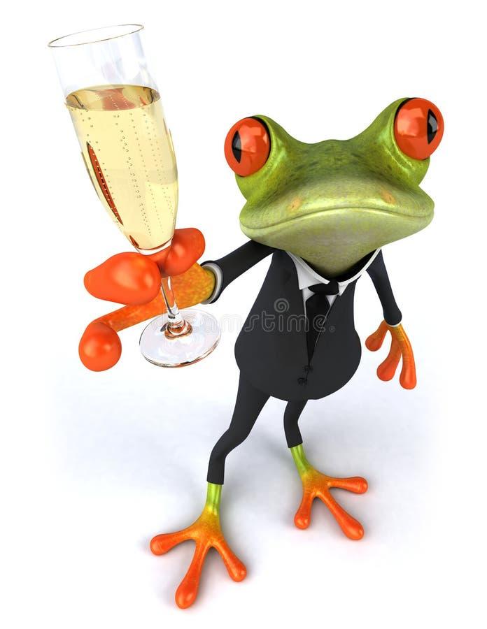Bedrijfs kikker en champagne