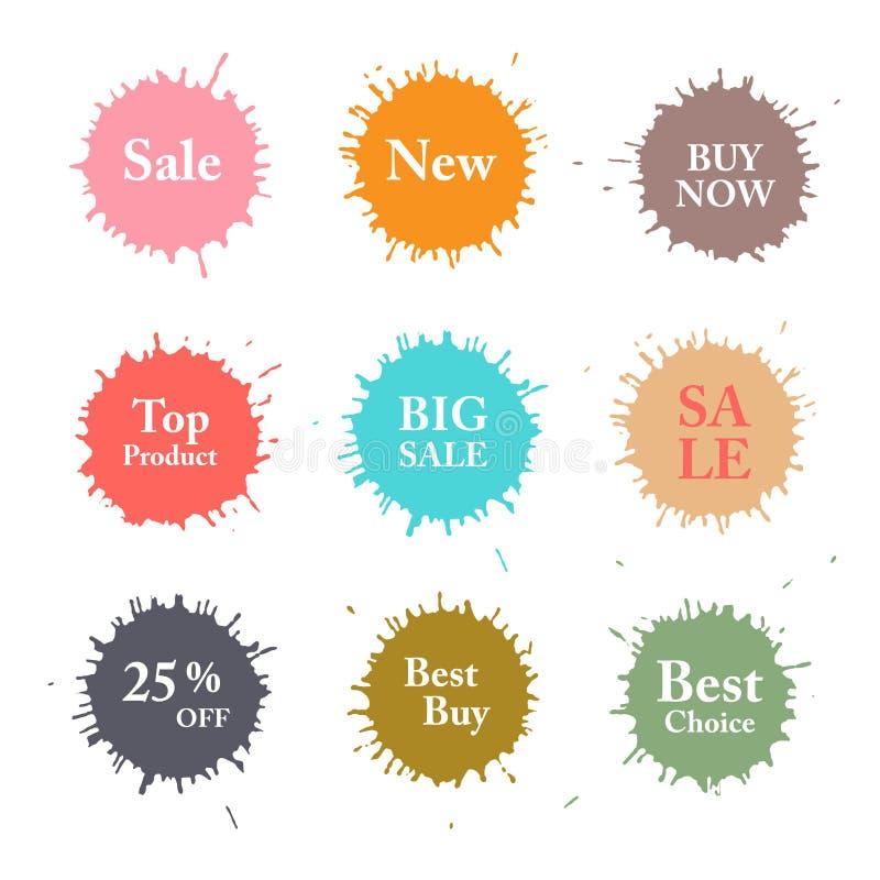 Bedrijfs Kleurrijke Vectorplonsenetiketten royalty-vrije illustratie