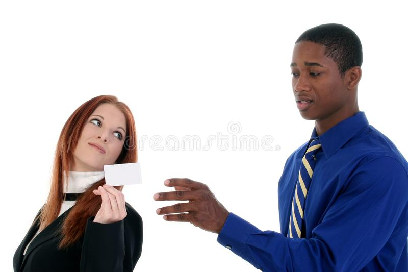 Bedrijfsman En Vrouw Met Adreskaartje Gratis Stock Afbeelding