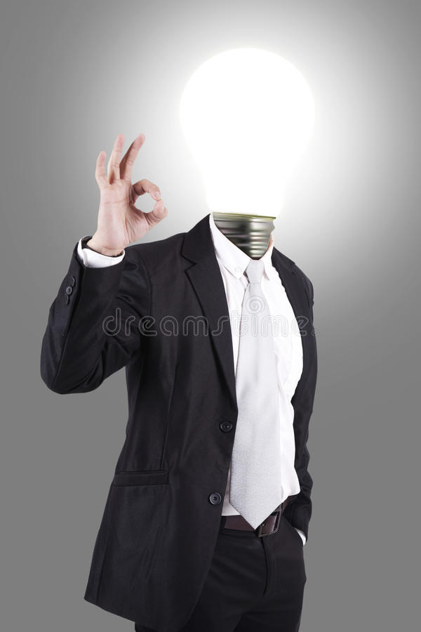 Bedrijfs mannetje met lamp-hoofd stock foto's