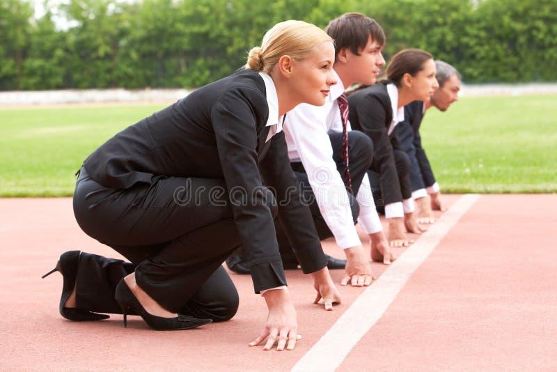 Bedrijfs marathon stock foto