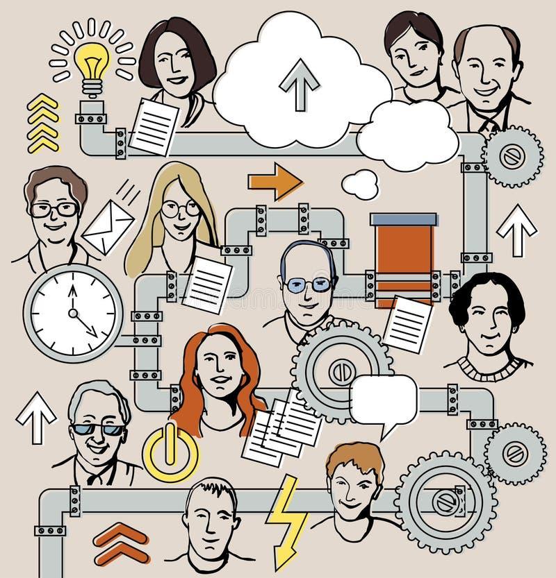 Bedrijfs mechanisme en mensen stock illustratie