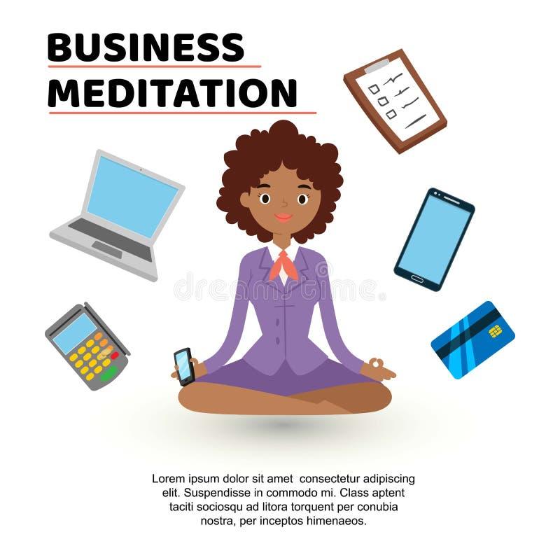 Bedrijfs meditatie De vrouw met mobiele telefoon in formele kleding die yoga het proberen doen mediteert om en aan kalm te houden vector illustratie