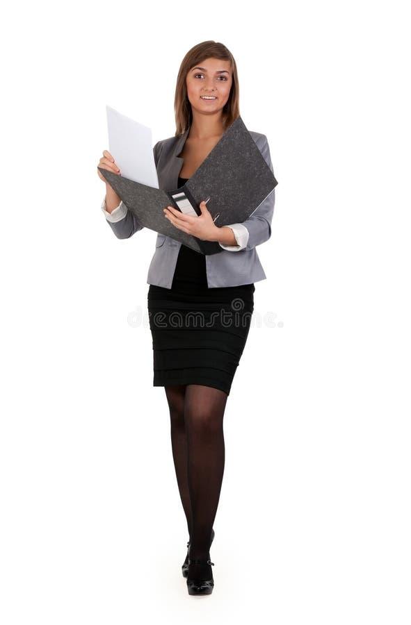 Bedrijfs meisje met een bureauomslag stock foto's
