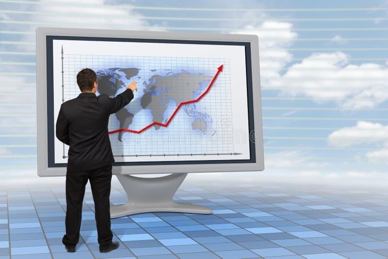 Bedrijfs mens die de financiële groei toont royalty-vrije illustratie