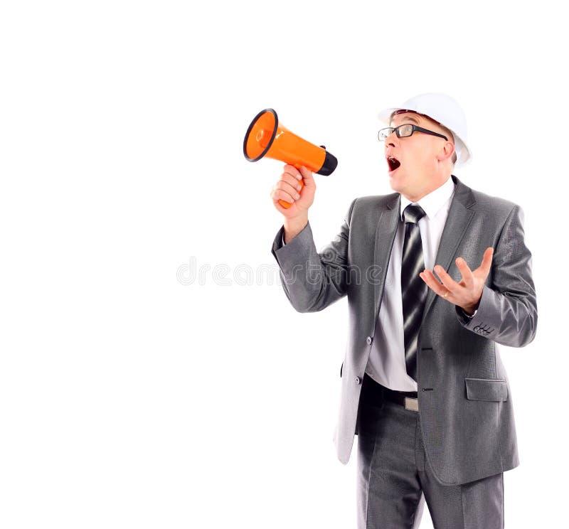 Bedrijfs mens die door een megafoon schreeuwen stock afbeelding
