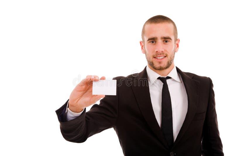 Bedrijfs mens die een leeg adreskaartje overhandigen royalty-vrije stock fotografie