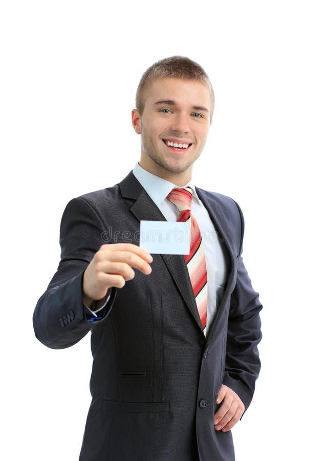 Bedrijfs mens die een leeg adreskaartje overhandigt royalty-vrije stock foto's