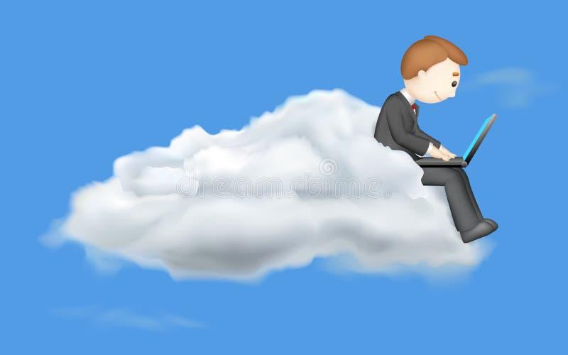 Bedrijfs mens die in Laptop werkt royalty-vrije illustratie