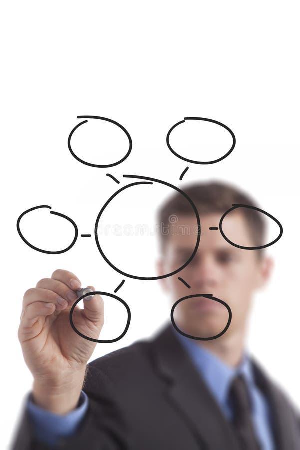 Bedrijfs Mens die Leeg Diagram trekken royalty-vrije stock afbeeldingen