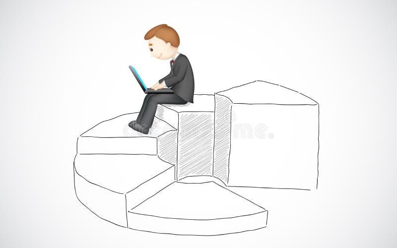 Bedrijfs Mens die met Laptop werkt stock illustratie