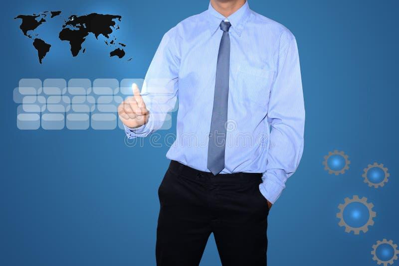 Download Bedrijfs Mens Die Op Een Interface Van Het Aanrakingsscherm Duwt Stock Afbeelding - Afbeelding bestaande uit toetsenbord, digitaal: 39114841