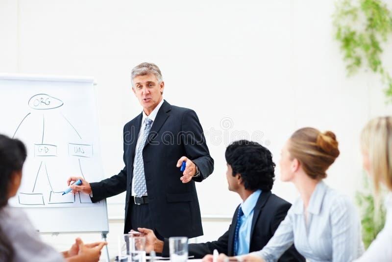 Bedrijfs mens die opleiding geeft aan zijn collega's royalty-vrije stock afbeeldingen